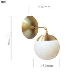 Image 2 - IWHD luces de pared LED modernas de estilo nórdico, accesorios de iluminación para sala de estar, luz para espejo de baño, lámpara de pared de bola de cristal, candelabro para el hogar