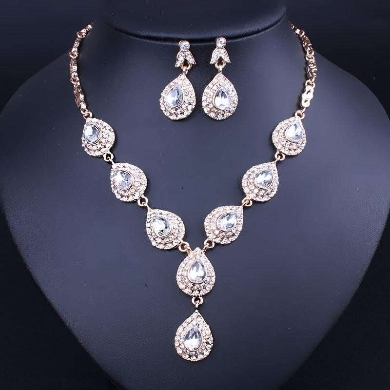 Acessórios do casamento De Noiva Conjuntos de Jóias Para As Mulheres Gota  de Água de Cristal Imitado Colar Brincos set ba9e223510