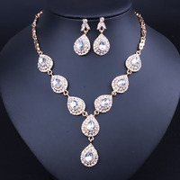 Wedding Bridal Accessories Jewelry Sets For Women Water Drop Imitated Crystal Necklace Earrings set