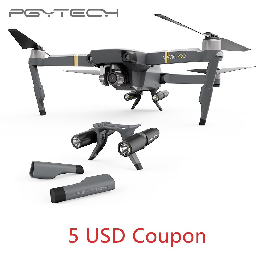 New Arrival PGYTECH Landing Gear Extensions LED Head lamp light set for DJI Mavic Pro without