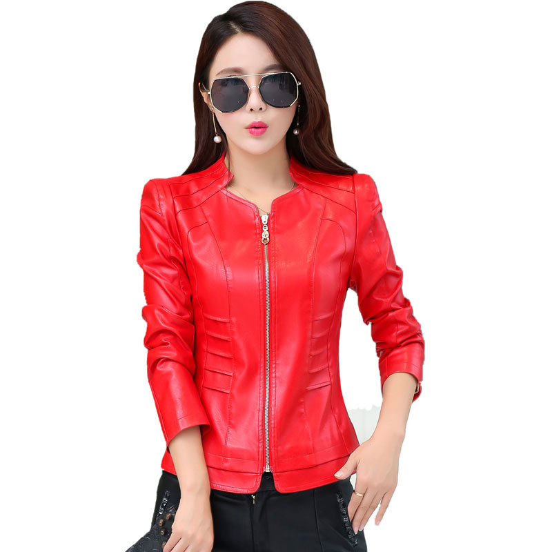 Women   Leather   Jackets 2018 New Ladies Red   leather   Jackets And Coat Plus Size 4XL Female PU   Leather   Slim Clothing Outerwear