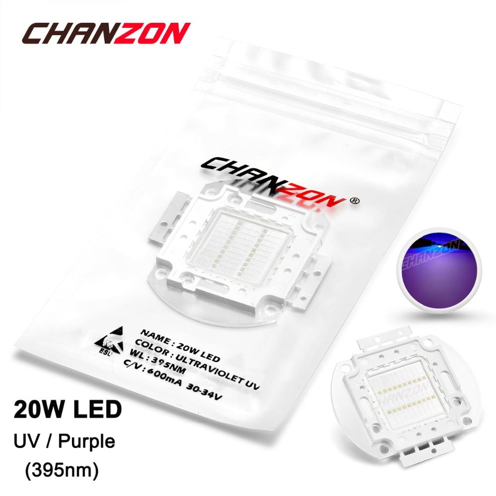 20W LED Light Bulb Lamp UV Ultraviolet 395nm 30-34V 600mA High Power 20 W Watt Purple Ultra Violet 395 nm Chip DIY COB for nail 50w high power led lamp light uv purple 420nm 430nm led emitter dc 30 36v 1700ma led bulb lighting