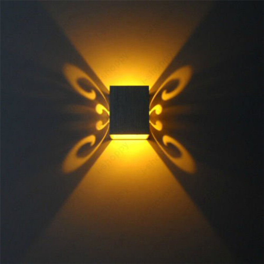 3W Butterfly Shape LED Wall Sconce Light Up Down Led wall lamp Fixture Lamp Wall-Mounted Indoor Decoration Light for KTV Bedroom
