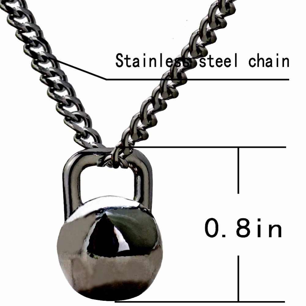 ステンレス鋼ケトルベルスポーティペンダントネックレスgunblackチタン鋼チェーンワークアウトネックレス用男性woemen
