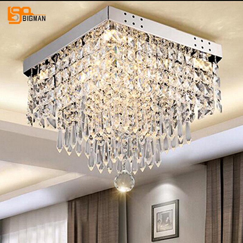 Nouveau design cristal plafonniers moderne lustre plafonnier led lampe pour chambre couloir de lumière
