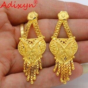Image 5 - Adixyn arabe collier et boucles doreilles parure de bijoux pour femmes couleur or élégant africain/éthiopien/dubaï mariage/cadeaux de fête N100712