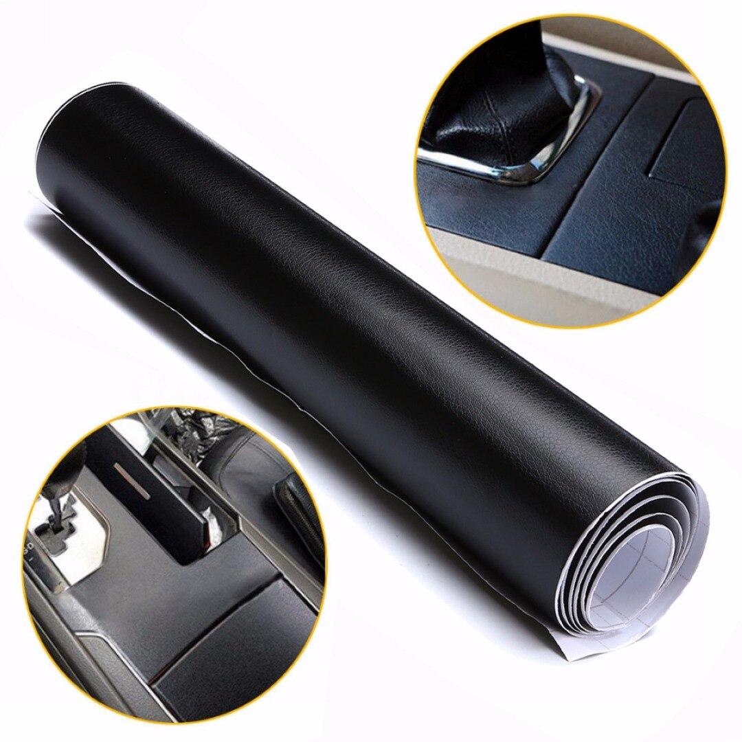 100X30cm Black Leather Texture DIY Car Interior Dashboard Sticker Trim Vinyl Wrap Sheet Film PVC Stickers Car Styling