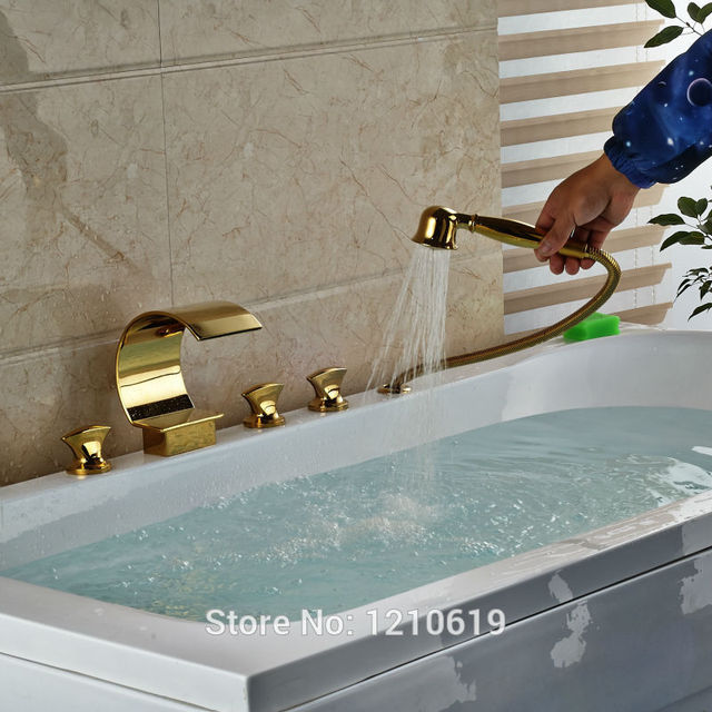 Newly Waterfall Bathroom Shower Tub Faucet w/ Hand Shower Golden ...