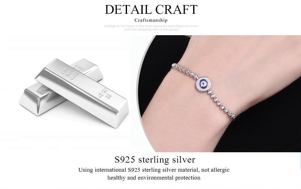 HTB1urEVv tYBeNjy1Xdq6xXyVXaU - Luxury Brand Evil Eye Tennis Bracelet Hip Hop 925 Sterling Silver Bracelets for Women Blue Stone Beads Bracelet Mens Jewellery
