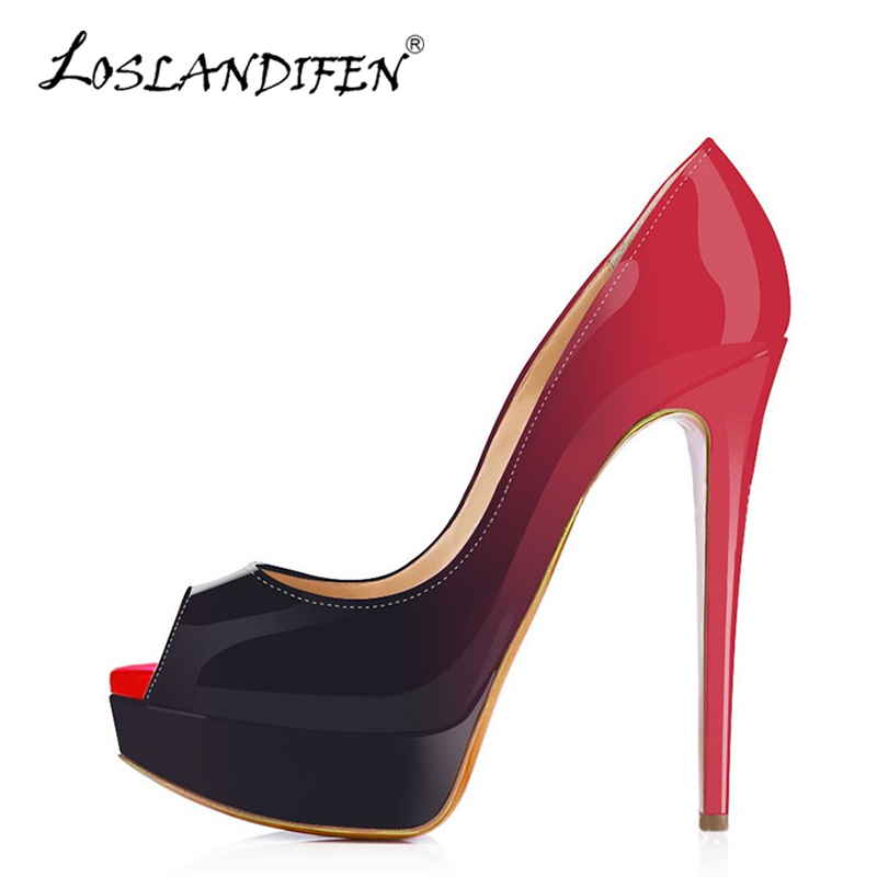 LOSLANDIFEN  Sexy Women Platform Pumps Peep Toe Extremely High Heels Shoes Ladies Red Wedding Shoes Gradient Stiletto Pumps 14cm hot sale brand ladies pumps sexy women high heels platform sexy women high heel pumps wedding shoes free shipping 2888 1