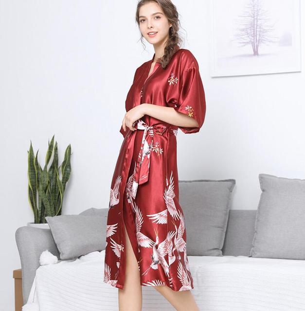f3c31c81bcf3 Women Long Sexy kimono Silk Robe Satin Bathrobe Black Long Bridal Robes  Print Bride Bathrobe Red Wine Gray XXXL A06