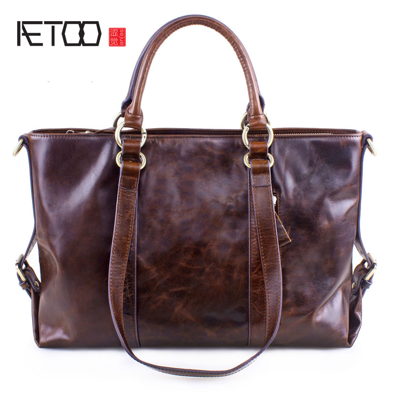 AETOO New fashion European and American oil wax cowhide handbags large capacity leather handbags shoulder bag dollar price new european and american ultra thin leather purse large zip clutch oil wax leather wallet portefeuille femme cuir