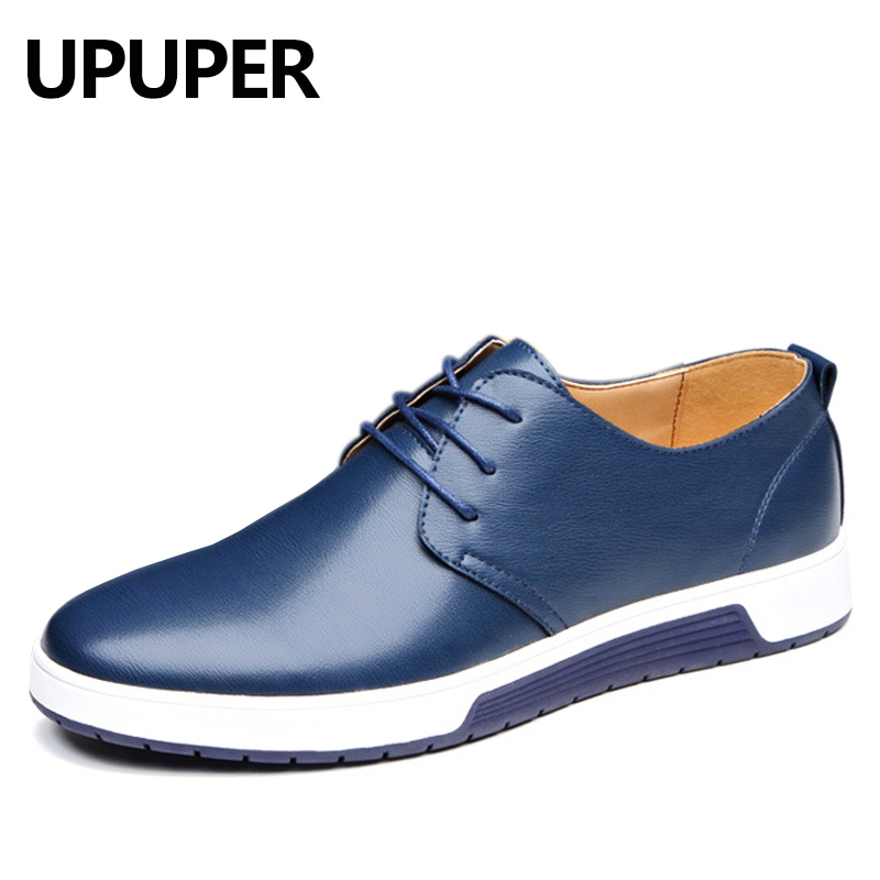 UPUPER 2018 NEW Fashion Men Shoes Lace-up Casual Leather Shoes Men Black Blue Brown Flat Shoes Big Size:37-48 Drop Shipping fashion horse hair tassels leather leopard pattern flat shoes black brown pair 37