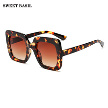 SWEET BASIL Oversized Sunglasses Women Large Size Men Square Colorful Frame Vintage Big Retro Sun Glasses UV400