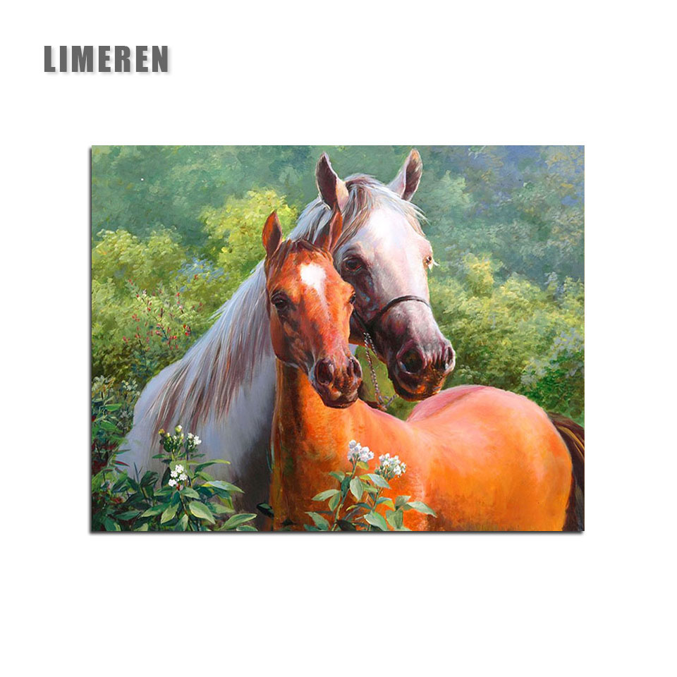 Horses Animals Lover Framless Oil Painting By Numbers On Canvas Coloring By Number For Adults Living Room Wall Art Home Decor