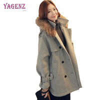 YAGENZ Winter Women Double Breasted Woolen Jacket 2018 High Ouality Long Ms Wool Coat Plus size Fur Collar Wool Overcoat 3XL B45