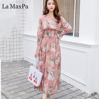 V Neck Print Chiffon maxi Dress casual 2020 Autumn women Slim fashion dress Party boho Long sleeve vintage dresses vestidos