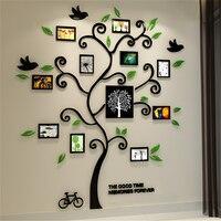 2016 New 11pcs Photo Frame Tree Acrylic 3d Three Dimensional Wall Stickers TV Sofa Home Decorative
