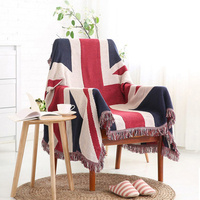 ESSIE HOME Sofa Blanket Cotton Tread England Flag American Flag The Stars and StripesCarpet Table Cloth Bedspread Tapestry