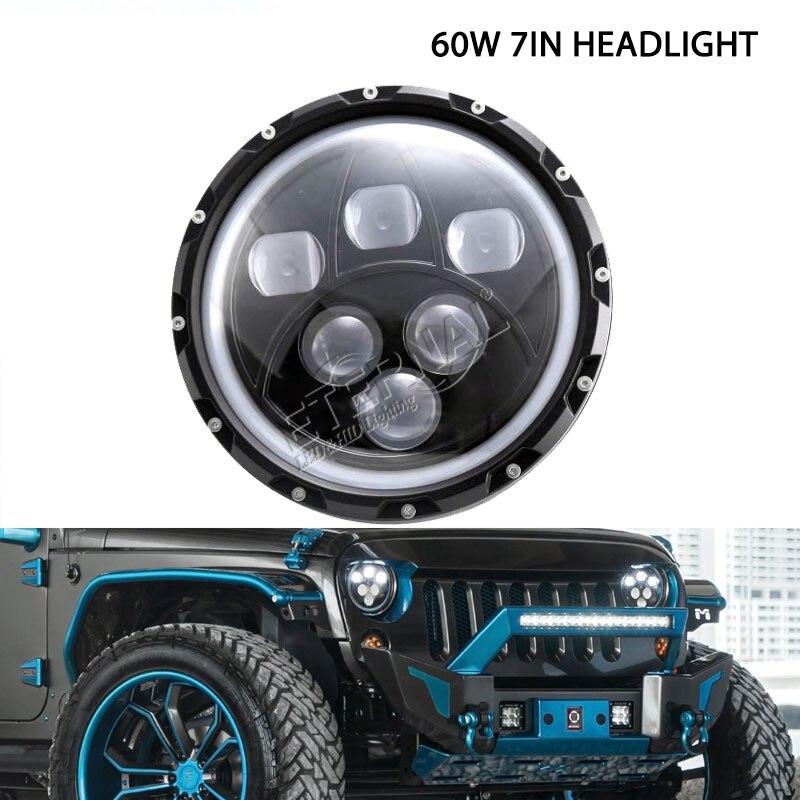 бесплатная доставка 7-дюймовый светодиодные фары мотоцикла 60 Вт H4 из светодиодов фара для 4 x 4 мотокросс проектор аксессуар автомобиля противотуманные фары Ровер
