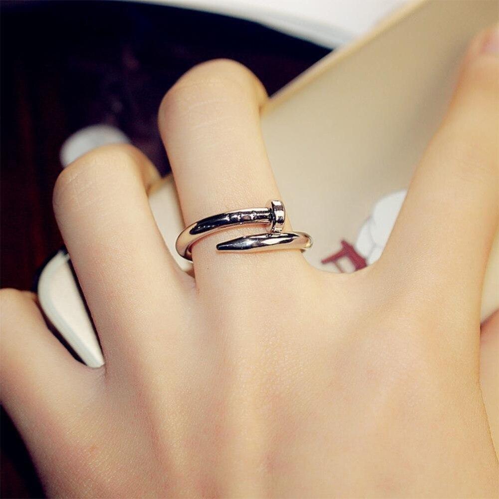 Nova moda festa de aniversário presente vintage prego casal anéis cristal pavimentar titânio ajustável para jóias femininas