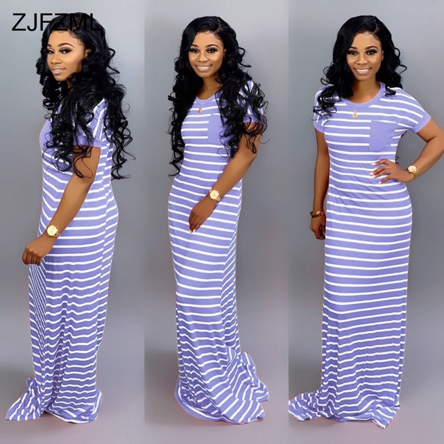 Plus Size Summer Long Maxi Dress 2019 Women Striped Patchwork Floor-Length Dress Casual Female O Neck Short Sleeve Beach Dress