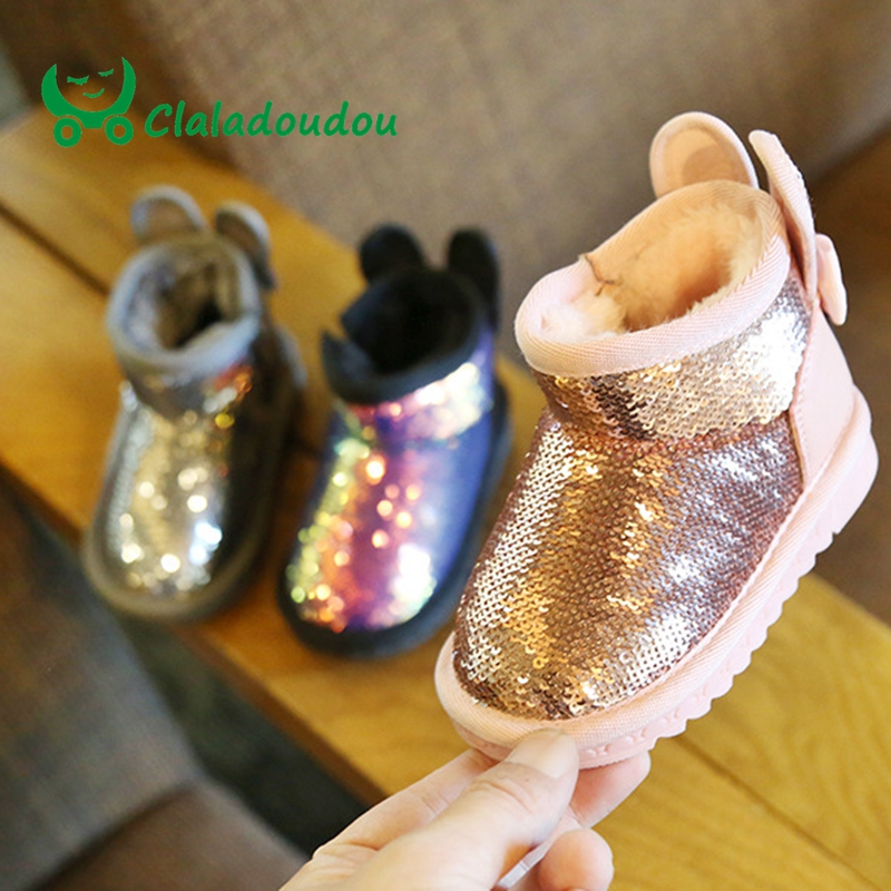Claladoudou 12-15.5CM Ears Bling Infant Boots Twinkle Winter Shoes Baby Toddler Girl Snow Boots Soft Plush Shoes Anti-slip 11