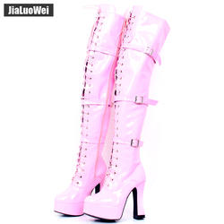 Jialuowei/Новинка, оптовая продажа, костюм на Хэллоуин, женские ботфорты выше колена на каблуке 4,5 дюйма, на шнуровке, с боковой молнией