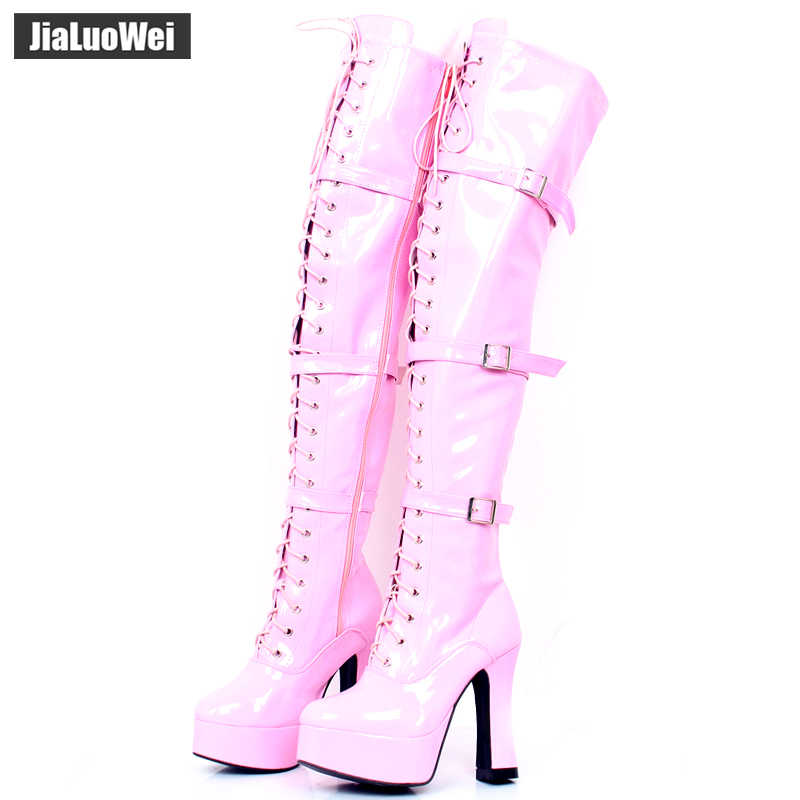Womens Thigh High Shiny Patent Kinky Over The Knee Stiletto Hook Lace Up Boots