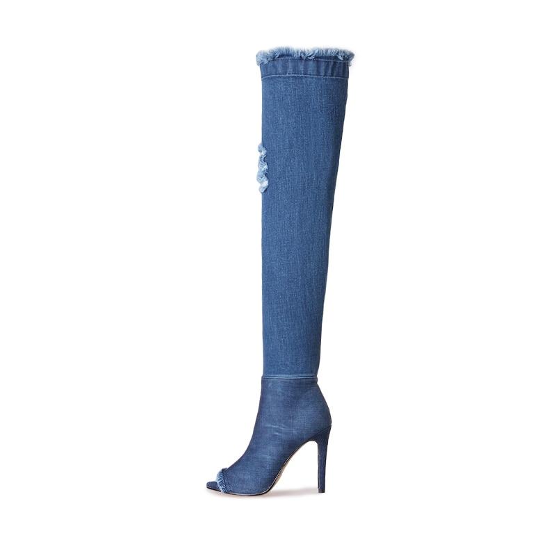 Denim Genou Troué Nouvelle Long Femmes Printemps Dames Chaussures Déchiré Peep Zipper Bottes Toe Le Arrivée Hauts Mode De Sur Jk Talons 4A3jq5LcR