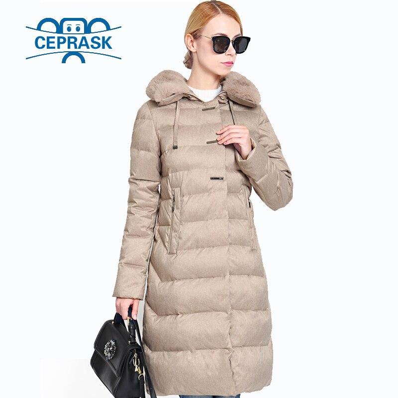 2018 Cappotto di Inverno delle Donne collo di Pelliccia Davvero Plus Size Lunga Con Cappuccio Caldo di Inverno Delle Donne Giacca Biologico-Imbottiture Femminile Parka 6XL CEPRASK