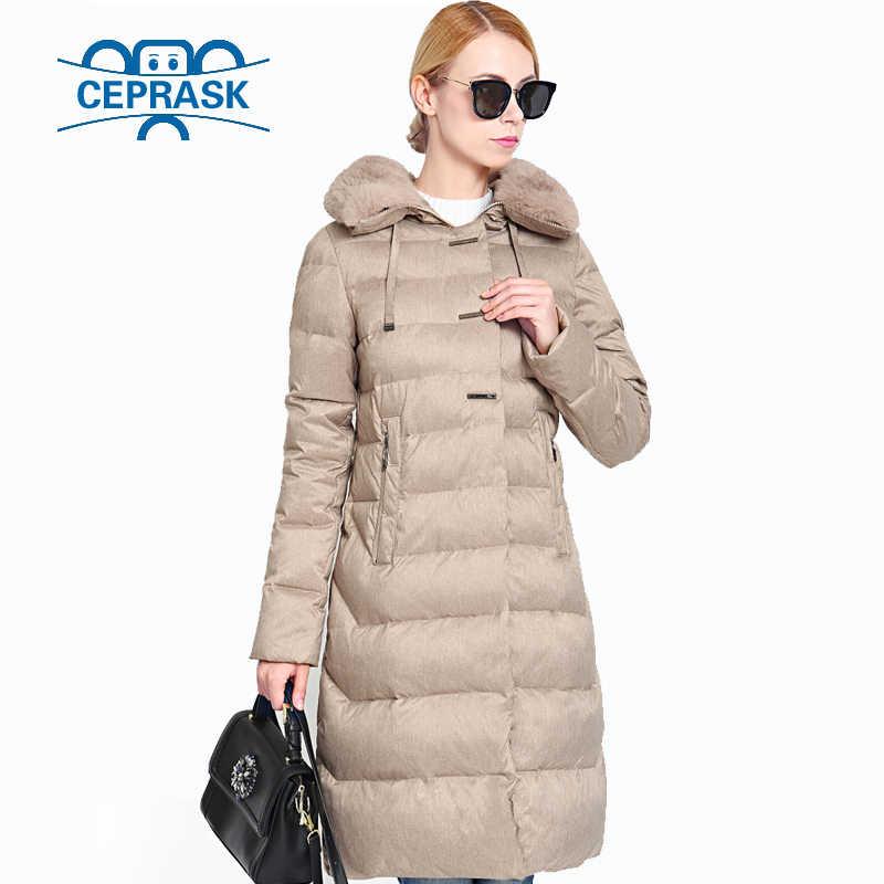 2019 frauen Winter Mantel Wirklich Pelz Plus Größe Lange Hoodie Warme Frauen Winter Jacke Biologische-Unten Weibliche Parkas 6XL CEPRASK