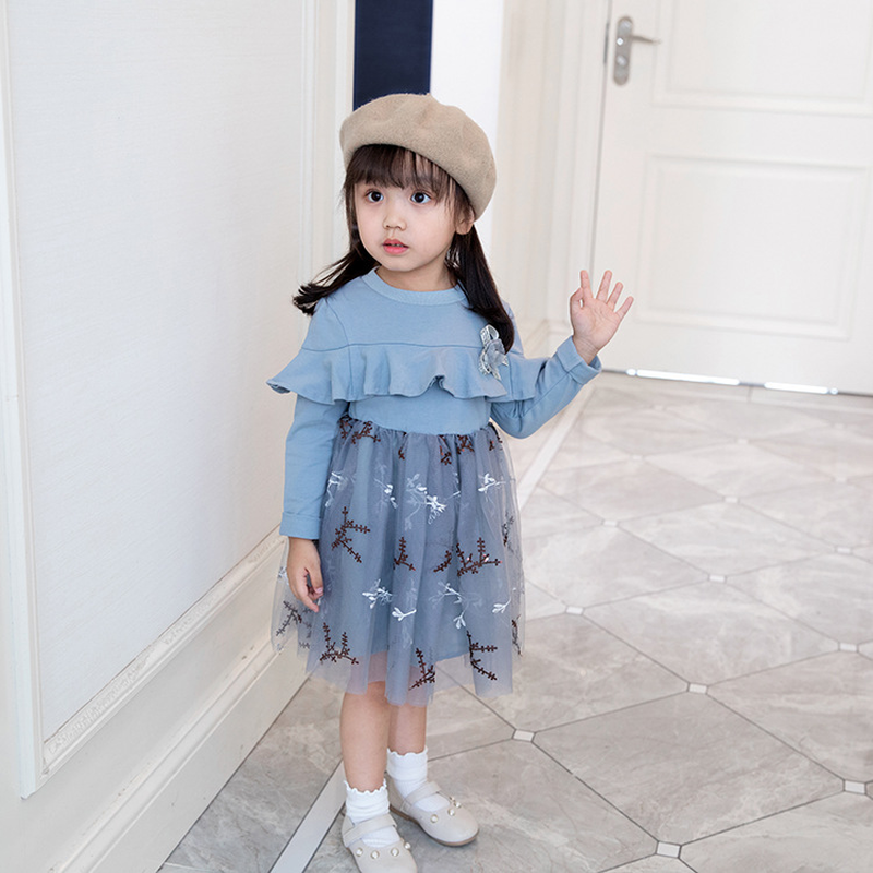 2018 New Autumn Princess Dress Children's Temperament Sweet Stitching Long-sleeved Fashion Kawaii Dress Comfortable Breathable spring new women long dress nightgowns white short sleeved nightdress royal vintage sweet princess sleepwear dress free shipping