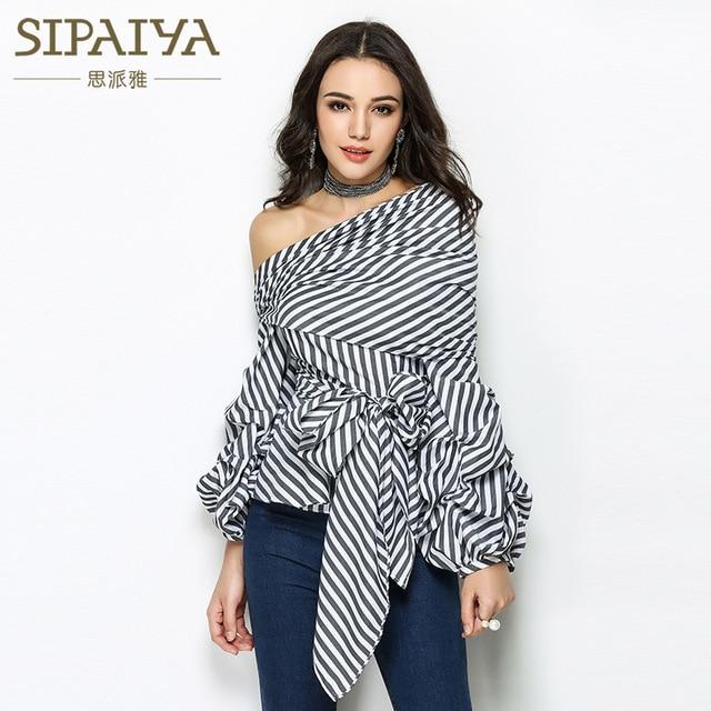 c7693820245 SIPAIYA 2017 High Quality Runway Designer Womens Striped Blouse Sexy Puff Sleeve  One Shoulder Tops White Black Blusas Feminina