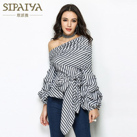 SIPAIYA 2017 High Quality Runway Designer Womens Striped Blouse Sexy Puff Sleeve One Shoulder Tops White Black Blusas Feminina