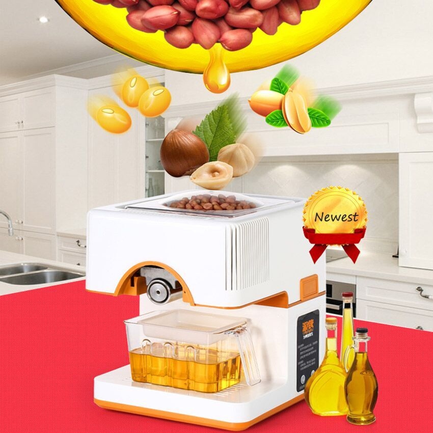 1PC 220V full-automatic Seed Oil Press Machine Home Use Peanut Oil Pressing Presser Machine cold-pressed hot-pressed home use 110v or 220v seed oil press machine nut seed automatic stainless all steel presser high oil extraction