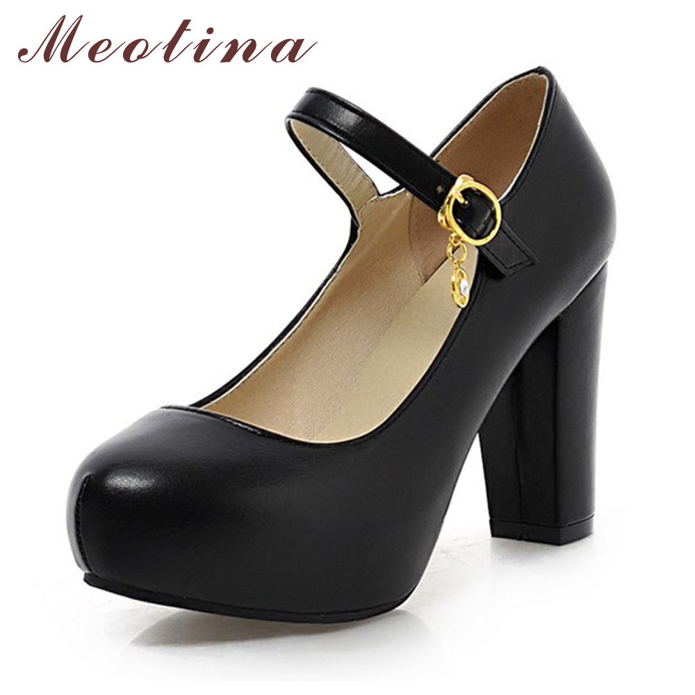 Meotina Discount Elegant Women's Pumps Autumn Closed Toe Mary Jane Thick High Heels Female Sequined Candy Color Purple Shoes