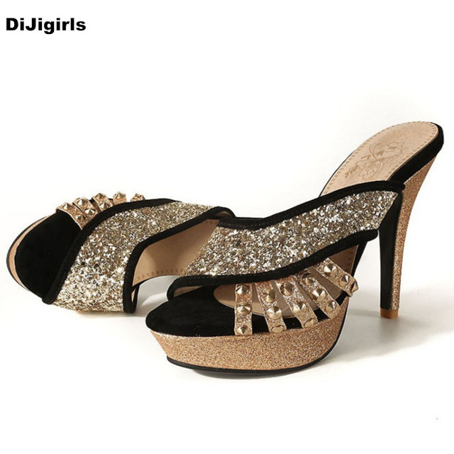 Sexy Ladies Peep Toe Slippers Shoes Sequins Rivet Platform Wedge Heel Slingbacks