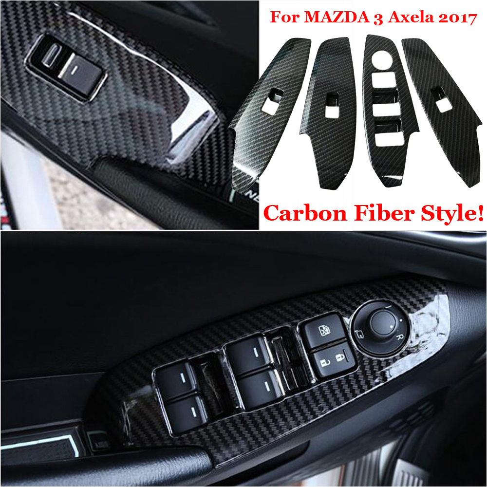For MAZDA 3 Axela 2017 Window Switch Sticker Carbon Frame Fiber Inner Panel Type Style Cover Decor Armrest