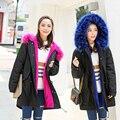 Marca 2016 Novas Mulheres Inverno Exército Verde Versão Casaco Jaqueta Casacos Grossos Mulheres de Pele Parka Com Capuz Longo Outerwear