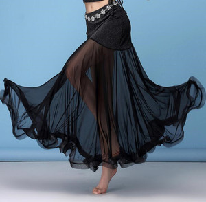 Image 1 - Korea Silver Mesh Belly Dance Skirt Women Belly Dancing Costume Outfit Tribal Maxi Full Skirts Solid Color Skirt Black XL