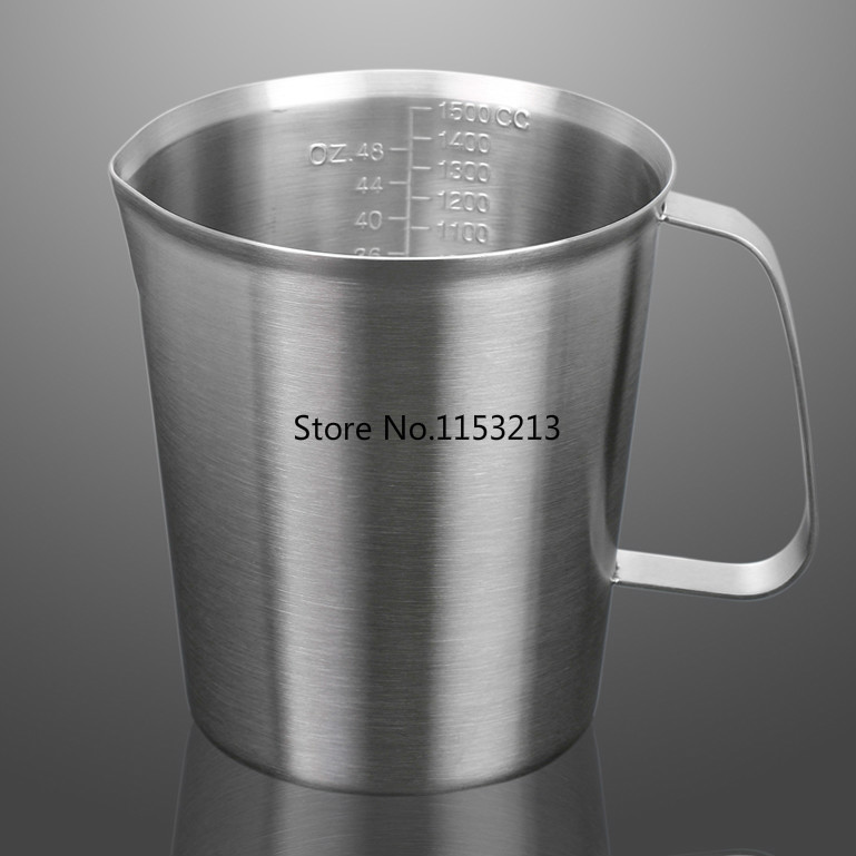 ФОТО Thickening 304 stainless steel measuring cup 2000ml Milk tea cup, coffee, liquid measuring cup with graduated never rust H 174mm