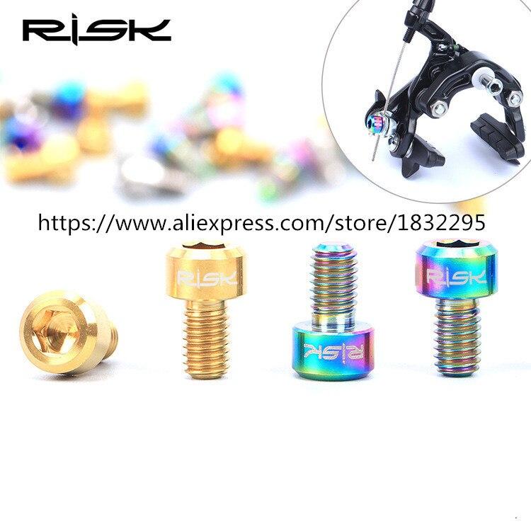 2Pcs RISK Titanium Alloy M6*11 Mm Screws 3 Colors MTB Bike Hydraulic Disc Brake