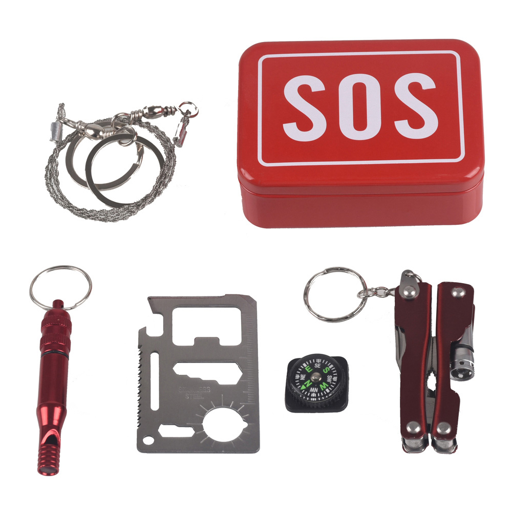 Outdoor Emergency bag Camping equipment box survival kit box self-help box SOS for Camping Hiking saw whistle compass tools