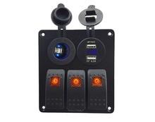 DC12V-4V Power socket+ Double USB 4.2A Outlet Charger voltmeter Socket 3 Gang Orange Rocker Switch Panelfor Marine Boat