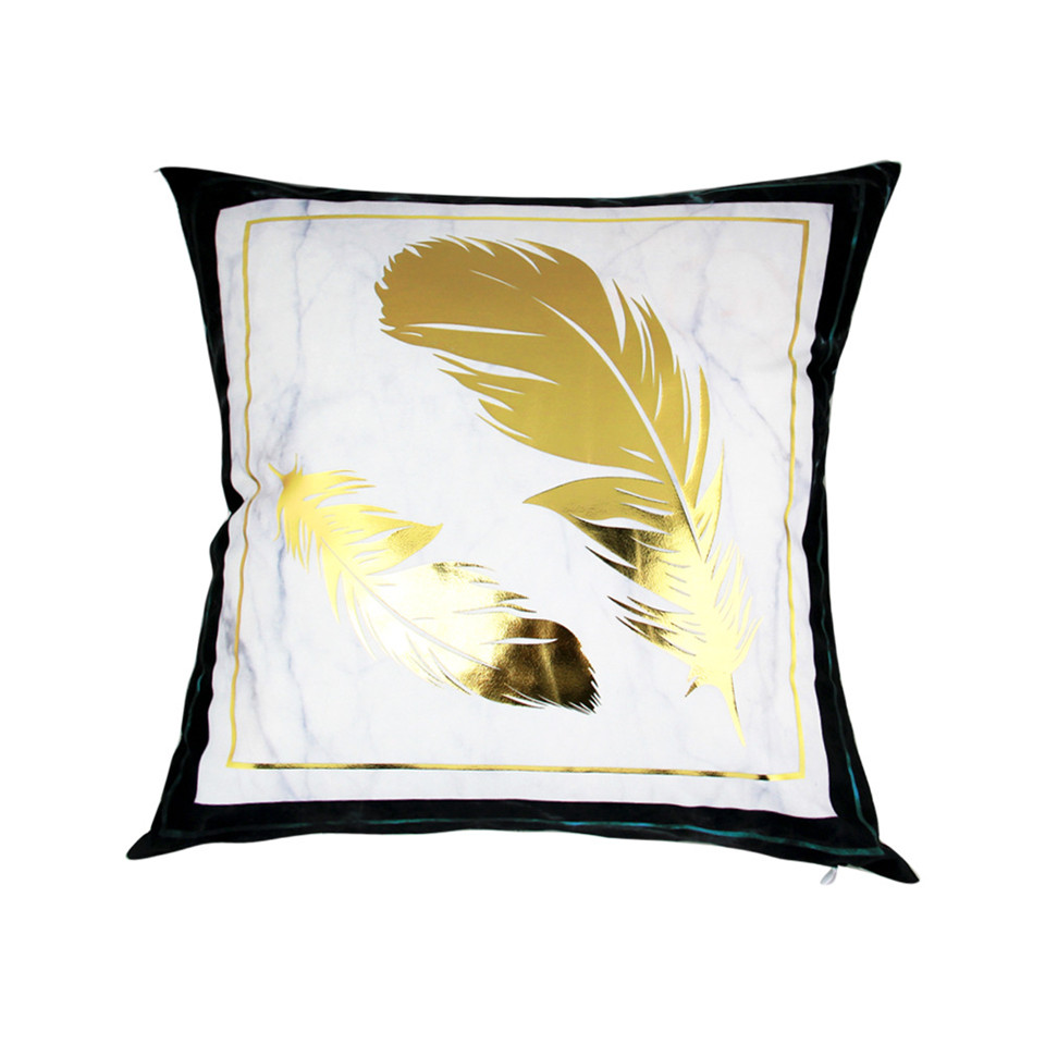 BlessLiving Bronzing Gold Throw Pillow Case Marble Geometric Decorative Pillow Cover Black White Cushion Cover Sofa Bed Decor in Cushion Cover from Home Garden