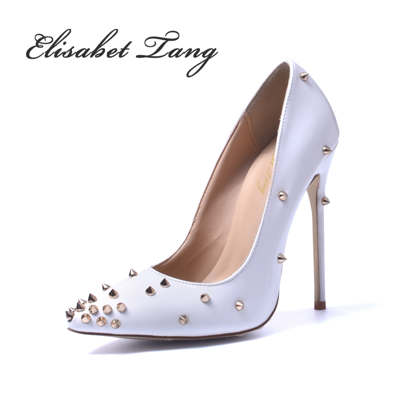 ФОТО Irregular Rivets Fashion Elements Thin High Heel Sexy Women Shoes Zapatos Mujer New Unique Design High Heel Same With Superstar