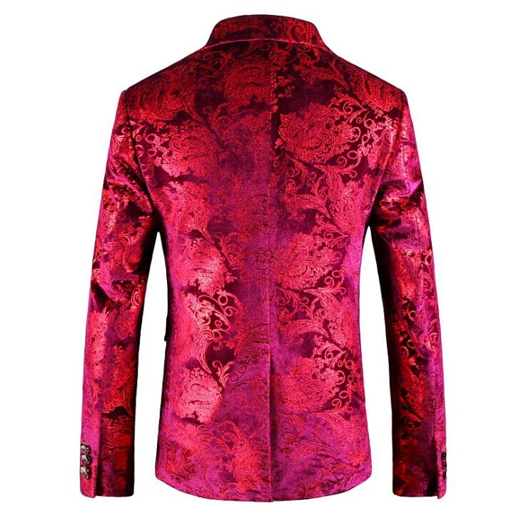 Rouge Slim Impression Casual 2018 Picture Automne Folobe Fit Veste Blazers Color Costumes Mode Manteaux Homme Hommes Manteau Vêtements KTl3F1Jc