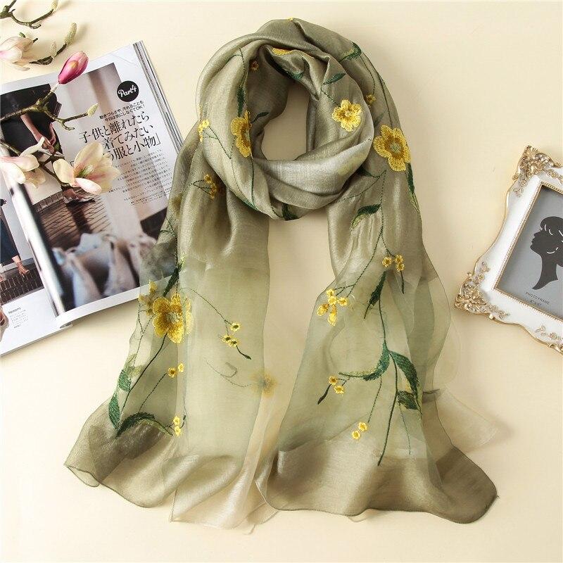 2019 summer luxury embroidery silk   scarf   for women shawls high quality woman   scarf   winter   wrap   wool bandana foulard female