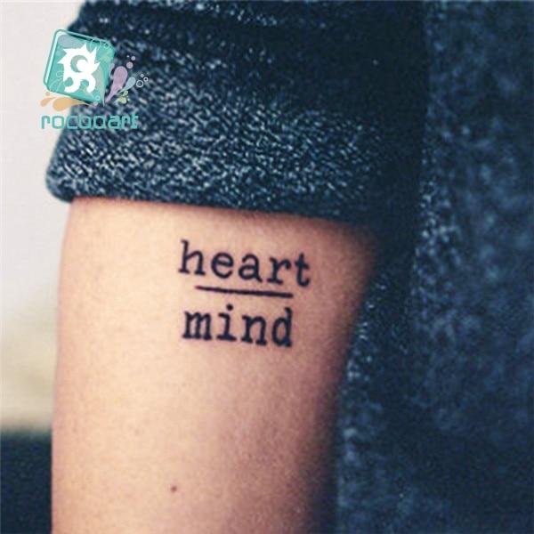 Rocooart hc1113 Водонепроницаемый Временные татуировки Наклейки мужество страх сердце разума буквы Дизайн переноса воды Harajuku поддельные татуировки